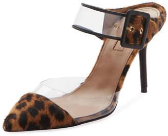 Aquazzura Optic Slide Pointed Leopard-Print Fur Mule