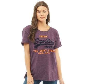 Superdry Womens Shirt Shop New Slim Boyfriend T-Shirt Buffalo Blackberry