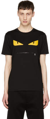 Fendi Black Bag Bugs Zip Mouth T-Shirt