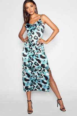 boohoo Tall Leopard Print Satin Midi Dress