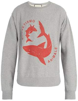 Gucci Shark Print Cotton Sweatshirt - Mens - Grey