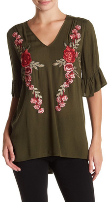 Pleione 3/4 Ruffle Sleeve Embroidered Floral Blouse $54 thestylecure.com