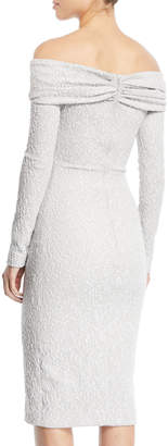 Off-the-Shoulder Long-Sleeve Stretch Embroidered Cocktail Dress