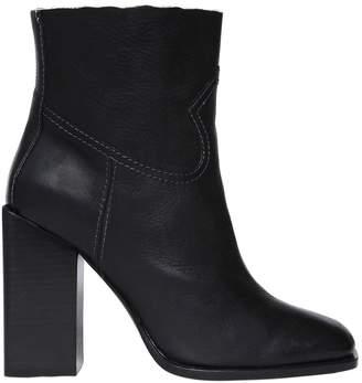 Saint Laurent 105mm Jodie Raw Trim Leather Boots