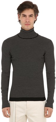 Rochas Striped Virgin Wool Turtleneck