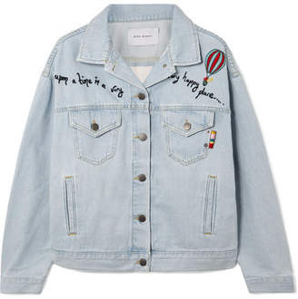 Mira Mikati Embroidered Tulle-paneled Denim Jacket