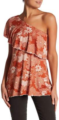 Loveappella Floral One-Shoulder Ruffle Top