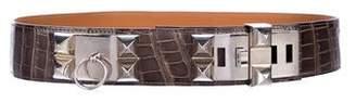 Hermes Porosus Crocodile Collier de Chien Belt