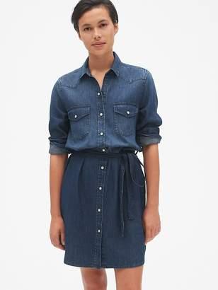 Gap Denim Tie-Waist Western Shirtdress