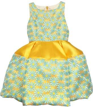 La Stupenderia Daisy Embroidered Organza & Mikado Dress
