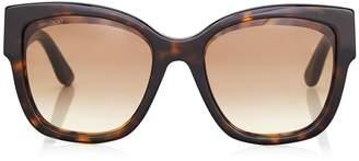 260dbec343 Jimmy Choo ROXIE Dark Havana Oversized Sunglasses with Star Detailing