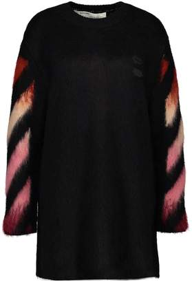 Off-White Off White Diag wool and mohair jumper