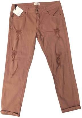 Vicolo Camel Cotton Trousers for Women