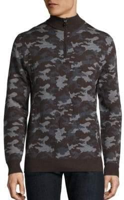 Camo Half Zip Wool Sweater