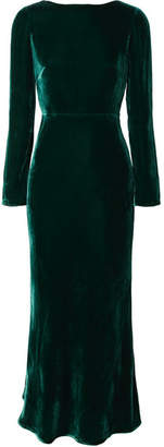Saloni Tina Open-back Velvet Midi Dress - Dark green