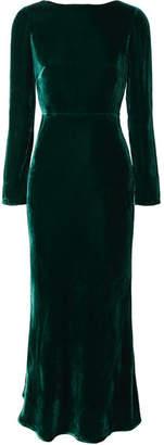 Saloni Tina Open-back Velvet Midi Dress - Dark green