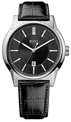 Hugo Boss HB-1512911 44mm Stainless Steel Case Patent Leather Mineral Watch $120.58 thestylecure.com