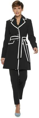 Le Suit Women's Colorblock Trench Coat & Pant Set