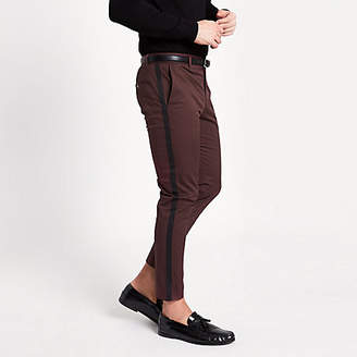 River Island Burgundy tape side skinny fit chino pants