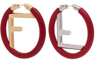 Fendi Orecchini Logo Leather Earrings - Womens - Red
