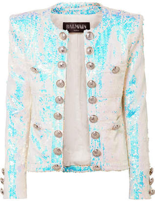 Balmain Button-embellished Sequined Twill Blazer - White
