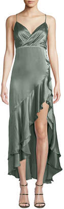 Fame & Partners Bristol Satin Slip Dress w/ Asymmetric Hem