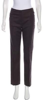 Oscar de la Renta Mid-Rise Straight-Leg Pants Brown Mid-Rise Straight-Leg Pants