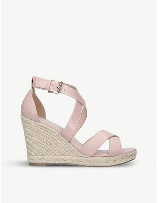 Carvela Smashing faux-leather cross strap espadrille wedge sandals