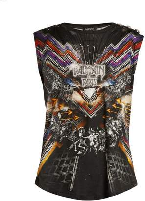 Balmain Galaxy Print Cotton Tank Top - Womens - Black Multi