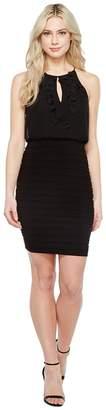 Adrianna Papell Chiffon Applique Floral Halter Bodice Dress Women's Dress