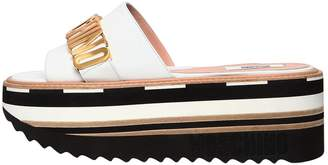 Moschino 70mm Logo Leather Wedge Slide Sandals
