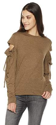Painted Heart Women's Long Cut-Out Sleeve Knit Tee X Large