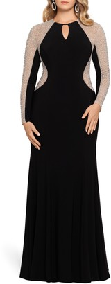 Xscape Evenings Caviar Beading Long Sleeve Keyhole Gown