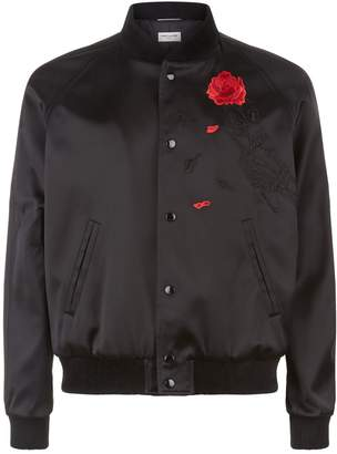 Saint Laurent Rose Embellished Bomber Jacket