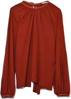 Rosetta Getty Tie Neck Balloon Blouse in Rust