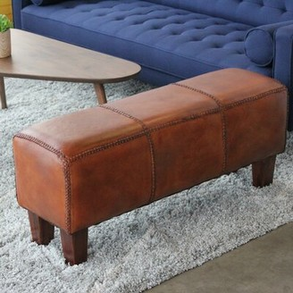 Millwood Pines Aaryahi Leather Bench Millwood Pines
