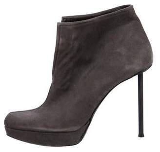 Stuart Weitzman Suede Round-Toe Ankle Boots