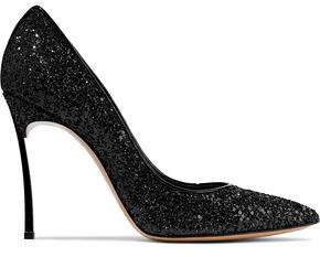 Casadei Blade Glittered Leather Pumps