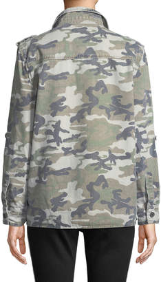 Velvet Heart Demi Camo Button-Front Military Jacket