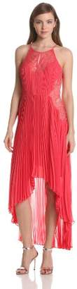 BCBGMAXAZRIA Women's Mina Pleated Dress with Lace Contrast