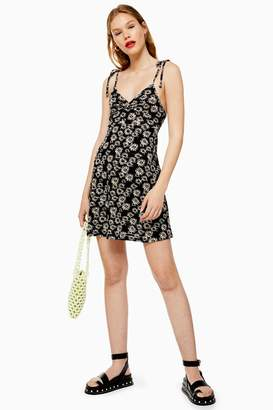 Topshop Womens Ditsy Twist Front Dress - Black