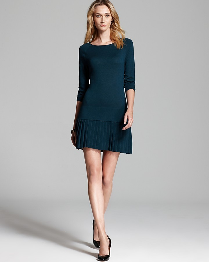 Shoshanna Pleated Skirt Sweater Dress - Lisett