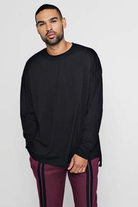 boohoo Long Sleeve Oversized Split Hem T-Shirt