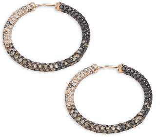 Effy Women's White Diamond, Black Diamond, Dark Brown Diamond & 14K Rose Gold Hoop Earrings- 1in