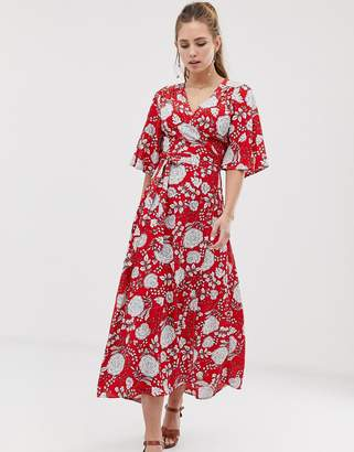 f1e4e7d652 Brave Soul kea midi wrap dress in floral print