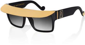 Karlsson Anna Karin Shady Metal-Brow Square Sunglasses, Black