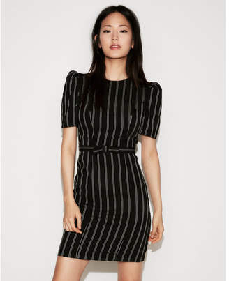 Express petite striped puff shoulder dress