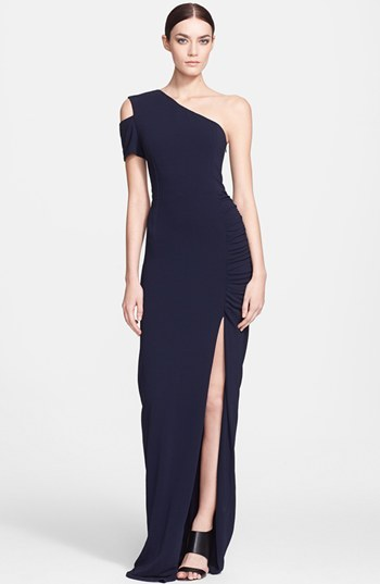 Yigal Azrouel One-Shoulder Ruched Jersey Gown