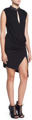 Haute Hippie Embellished Silk Wrap-Front Long Dress, Black