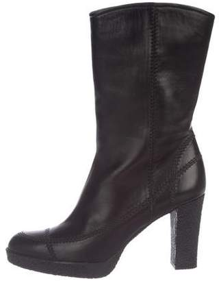 Stuart Weitzman Leather Semi Point-Toe Mid-Calf Boots